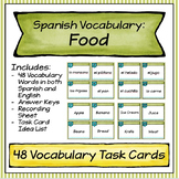 Spanish Vocabulary Task Cards - Food