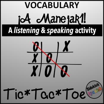 Spanish Vocabulary Tic Tac Toe: A Manejar