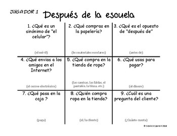 Spanish Vocabulary Tic Tac Toe: Después de la escuela