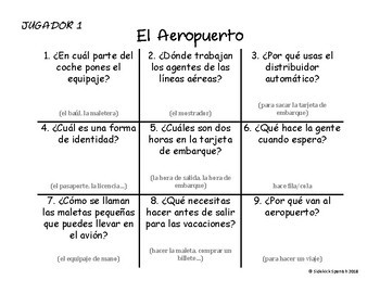 Spanish Vocabulary Tic Tac Toe: El Aeropuerto
