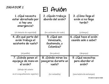 Spanish Vocabulary Tic Tac Toe: El Avión
