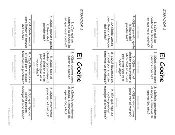 Spanish Vocabulary Tic Tac Toe: El Coche