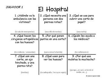 Spanish Vocabulary Tic Tac Toe: El Hospital