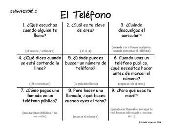 Spanish Vocabulary Tic Tac Toe: El Teléfono