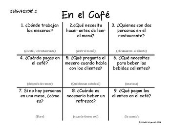 Spanish Vocabulary Tic Tac Toe: El café