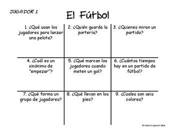Spanish Vocabulary Tic Tac Toe: El fútbol