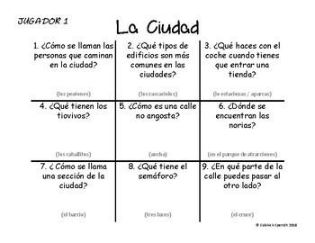 Spanish Vocabulary Tic Tac Toe: La Ciudad