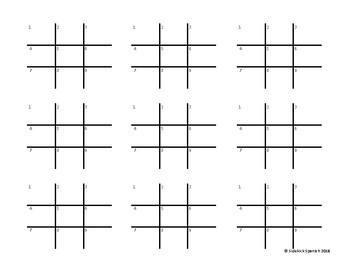 Spanish Vocabulary Tic Tac Toe: La Comida