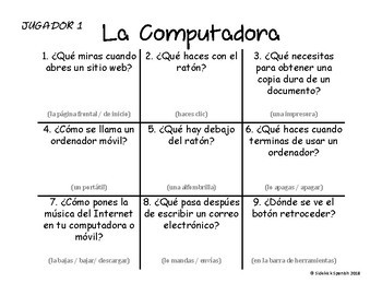 Spanish Vocabulary Tic Tac Toe: La Computadora