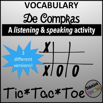 Spanish Vocabulary Tic Tac Toe: Shopping (clothes and food)