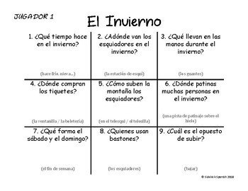 Spanish Vocabulary Tic Tac Toe: Winter