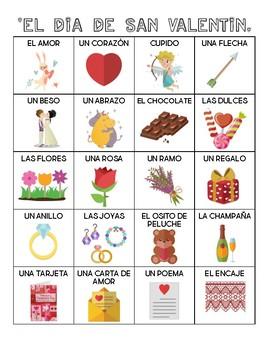 Spanish - Vocabulary - Valentine's Day