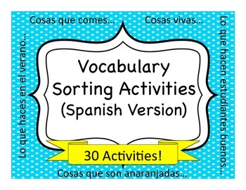spanish vocabulary sorting activities by spanish sundries tpt. Black Bedroom Furniture Sets. Home Design Ideas