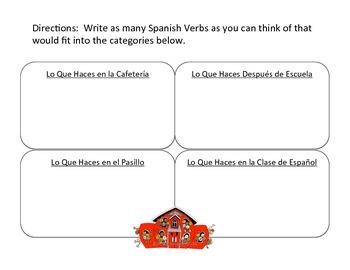 Spanish Vocabulary Sorting Activities
