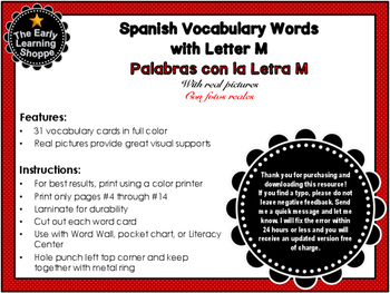 Spanish Vocabulary Words with Letter M