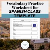 Spanish Vocabulary Worksheet Template
