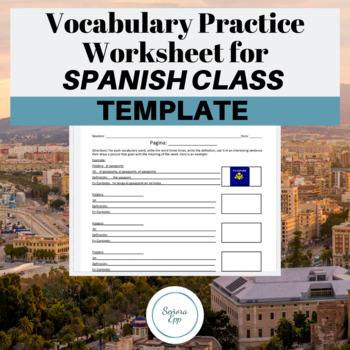Spanish Vocabulary Worksheet Template