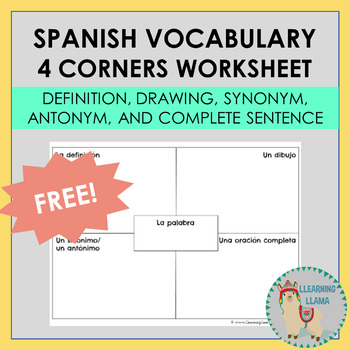 Spanish Vocabulary Worksheet/Organizer