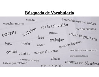 """Spanish Vocabulary Worksheet """"Vocab Hunt"""" Fun Word Search First Year Verbs"""