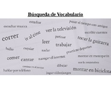 "Spanish Vocab Worksheet ""Vocab Hunt"" Word Search First Year Verbs Fun Sub Plans"