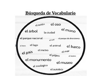 """Spanish Vocabulary Worksheet """"Vocab Hunt"""" Realidades Ch. 8a Places + Animals"""