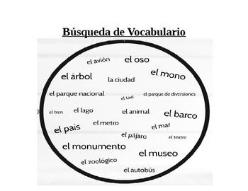 "Spanish Vocabulary Worksheet ""Vocab Hunt"" Realidades Ch. 8"