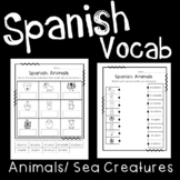 Spanish Vocabulary Worksheets: Animals and Sea Creatures