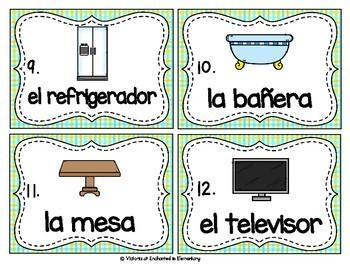 Spanish Vocabulary Write the Room: Around the House Set