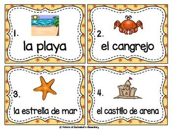 Spanish Vocabulary Write the Room: Beach Set
