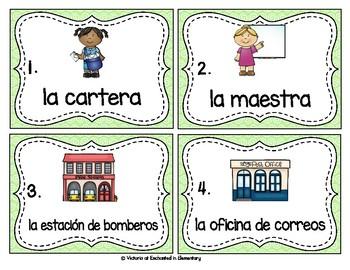 Spanish Vocabulary Write the Room: Community Set