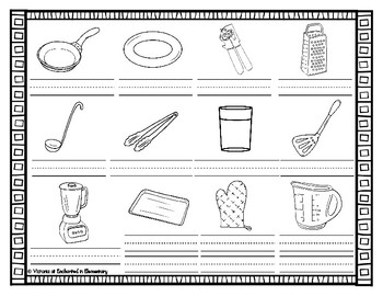 Spanish Vocabulary Write the Room: In the Kitchen Set