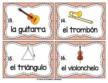 Spanish Vocabulary Write the Room: Musical Instruments Set