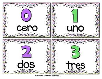 Spanish Vocabulary Write the Room: Numbers 0-23 Set
