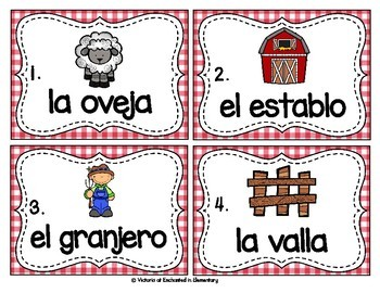 Spanish Vocabulary Write the Room: On the Farm Set