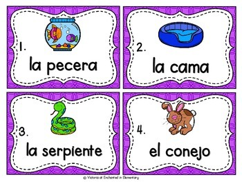 Spanish Vocabulary Write the Room: Pets Set