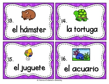 Spanish Vocabulary Write the Room: Pets Set