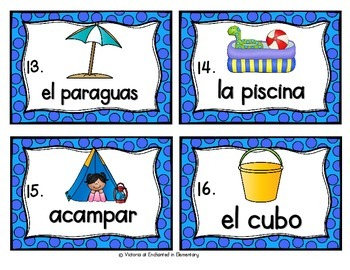 Spanish Vocabulary Write the Room: Summer Set