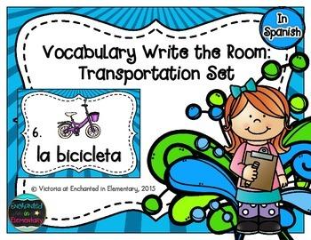 Spanish Vocabulary Write the Room: Transportation Set