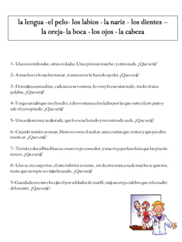 Spanish Vocabulary - el cuerpo riddles