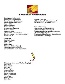 Spanish Vocabulary for 5th grade
