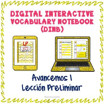 Spanish Vocabulary for Lección Preliminar of Avancemos 1 DINB