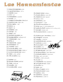 Spanish Vocabulary for Tools and Math/Measurement