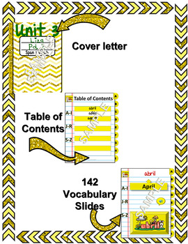 Spanish Vocabulary for Unidad 2 of Avancemos 1 DINB