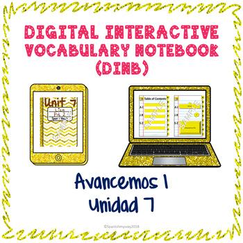 Spanish Vocabulary for Unidad 7 of Avancemos 1 DINB