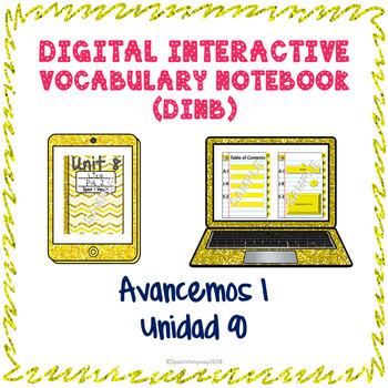 Spanish Vocabulary for Unidad 8 of Avancemos 1 DINB