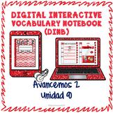 Spanish Vocabulary for Unidad 8 of Avancemos 2 DINB