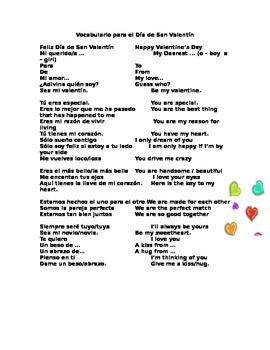 Spanish Vocabulary for Valentine's Day