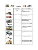 Speech Therapy Spanish Vocabulary w/ Questions: Transportation/Transporte