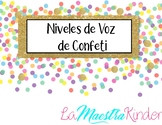 Spanish Voice Levels Confetti Theme- Niveles de Voz