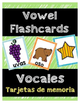 Spanish Vowel Picture Flashcards*Tarjetas de las vocales en español